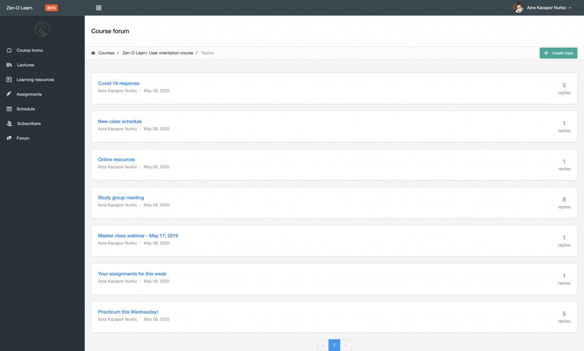 E-learning platform zeno screen shot